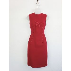 Red vintage tweed midi dress
